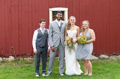 Best man and Maid of Honor! Michigan mint farm wedding  #farmwedding #michiganwedding #wildflowers #greyandmint #grey&mint