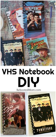 Transform your old VHS tapes into a cool piece of nostalgia with this VHS Notebook DIY. These notebooks make great gifts for family and friends!  #VHS #Notebook #DIY #nostalgia #gift #giftsforhim #giftsforher #movielover