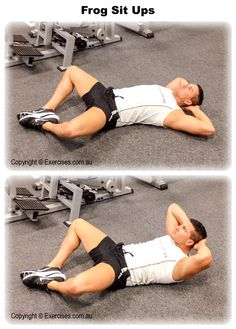 Frog Sit Ups is an effective exercise for isolating the rectus abdominis muscles. There is secondary emphasis on the transverse abdominis and serratus muscles. Frog Sit Ups creates a strong contraction on the upper abdominals and constant tension at the bottom part of the exercise. Watch a demo... https://www.exercises.com.au/frog-sit-ups/