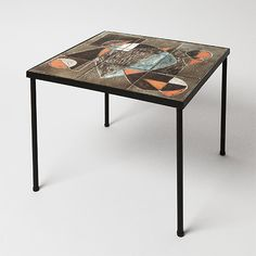 By Les 2 potiers - Side table, circa 1960. Glazed ceramic tiles http://www.galerieriviera.com