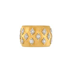 Wide Two-Color Gold and Diamond Band Ring, Mario Buccellati  18 kt. yellow  white gold, 24 round diamonds ap. .70 ct., signed M. Buccellati, Italy, ap. 7.6 dwts. Size 6 3/4.