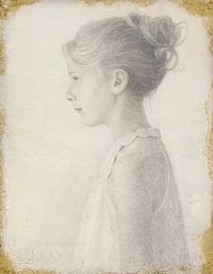 Viktor Koulbak . Young Girl in Profile . Silverpoint Drawing and watercolor on paper