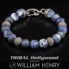 Stormy blue, white and gray sodalite beads and sterling silver sea urchin beads are featured on the Beach Comber men's bead bracelet from William Henry. Bracelets For Men, Beaded Bracelets, Abalone Jewelry, Men Beach, Beach Accessories, Sterling Silver Bracelets, Men's Jewelry, Jewellery, Beads