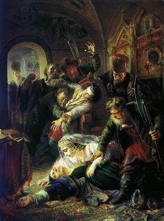 Makovsky_False_Dmitrys_agents_murdering_Feodor_Godunov_and_his_mother_1862.jpg (743×1000)