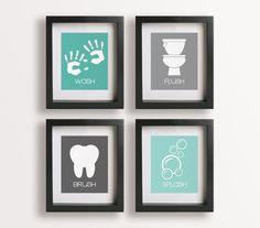 bathroom wall decor - kids handprints
