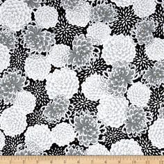 Yoriko Dependable Chrysanthemums Black Fabric