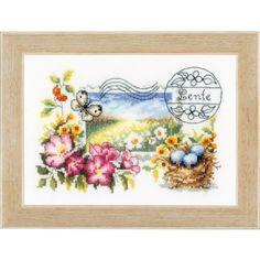 Borduurpakket van een mooie lente postzegel met nestje en vlinder.
