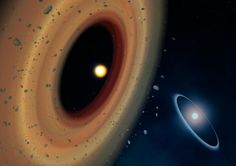 Artist's impression of the Fomalhaut system. The newly discovered comet belt around Fomalhaut C is shown to the left. C Amanda Smith