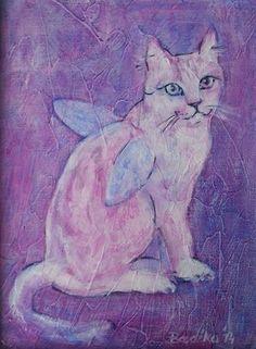 CAT ANGEL II (Painting) przez ANNA  BARDZKA