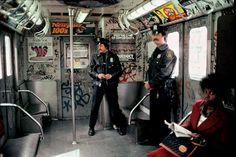 Cops in the train, the Bronx, NYC Subway, 1981 - by Martha Cooper USA Nyc Subway, New York Subway, Subway Art, Metro Subway, Vintage New York, Hip Hop, Vintage Photographs, Vintage Photos, Martha Cooper
