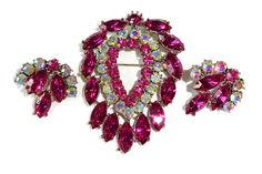 VINTAGE Weiss Large Fuchsia Pinks Marquis AB Rhinestones Brooch / Pin Earrings Set  Amazingly Gorgeous Bridal Jewelry!!!