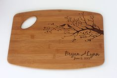 Wedding Gift!   Personalized/Engraved Cutting Board with Birds & Tree/Tree Design 11Hx15L, Personalized Wedding Gift, Bamboo, Custom Cutting Board $42