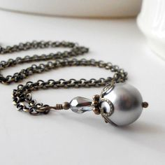 Gray Pearl Pendant Necklace Gray Jewelry Pearl by FiveLittleGems, $14.00