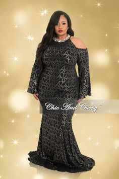 Plus Size Cold Shoulder Gown with Bell Sleeves in Black and Gold– Chic And Curvy Bad Dresses, Dressy Dresses, Plus Size Dresses, Plus Size Outfits, Peplum Dresses, Hippie Dresses, Pageant Dresses, Dress Outfits, Wedding Dresses