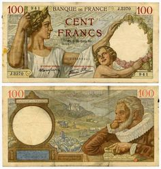 1939 France 100 Francs Banknote Pick Number 94 Beautiful Very Fine or Better