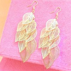 Leaf Chandelier Earrings in Gold by Anastasia