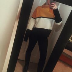 Burnt orange/yellow, black and white block funnel neck jumper from new look | boxy and bold design, roll neck / turtle neck | worn twice | size large so 8-10 for oversized or 12/14/16 for tighter fit | message me any Q's