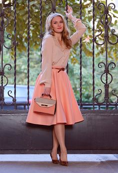 Pretty Winter Outfit Ideas with Pastel Pieces --- Lovely Pastel Outfit with Leopard Printed Pumps