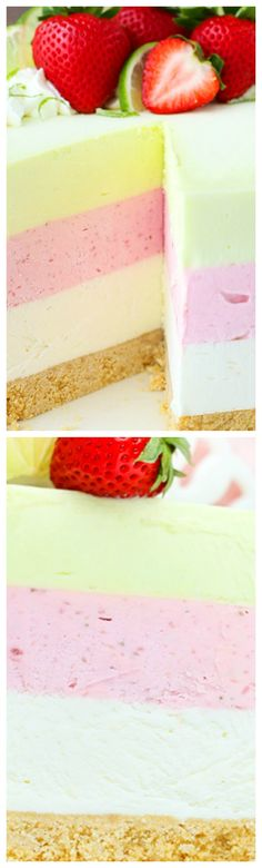 Key Lime Strawberry Coconut Ice Cream Cake ~ Combines three delicious flavors into one ice cream cake that's completely no bake, no churn and a fun display of colors and fresh fruit that are perfect for summer!