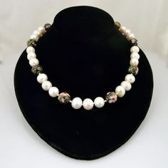 Artisan Handmade AAA Quality Natural Freshwater Pearl and Cloisonne Choker Necklace