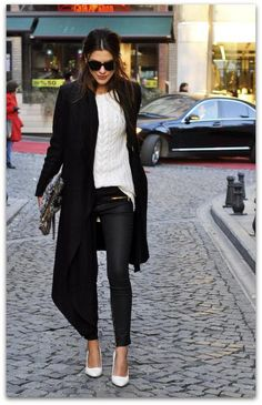 Art Symphony: Black & White... love a chnky knit with waxed jeans and wool coat