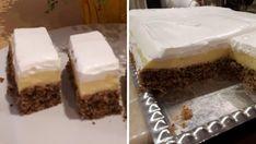 Ořechové řezy s vanilkovým pudinkem – hotové za 30 minut! Zamilujete si je po prvním ochutnaní! | Vychytávkov Vanilla Cake, Tiramisu, Cheesecake, Muffin, Food And Drink, Pudding, Sweets, Cookies, Baking