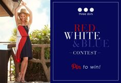 In celebration of the 4th of July, join us for our Red, White & Blue Pinterest Contest! Starting TODAY, enter for a chance to win one of five Three Dots Jersey Collette Short Sleeve Crewneck Tees (style #KD1C057) as featured in InStyle magazine – July 12. Get creative and show off your American pride!    Learn more: http://www.shopthreedots.com/blog/index.php/three_dots_red_white_blue_contest_pin_to_win/