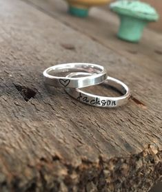 Sterling Silver Stacking Rings, Mother's Rings, Stackable Hand-stamped Metal Name Rings, Thumb Rings Stackable Name Rings, Silver Stacking Rings, Gold Rings, Keepsake Rings, Bf Gifts, Mom Ring, Hand Stamped Metal, Tiny Rings, Mother Rings