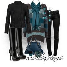 """""""Black and Teal"""" by wishesndreams on Polyvore"""