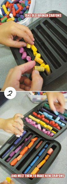 23 Clever DIY Christmas Decoration Ideas By Crafty Panda Diy Crafts For Kids, Projects For Kids, Fun Crafts, Craft Projects, Arts And Crafts, Crayon Crafts, Crayon Art, Crayon Painting, Melting Crayons