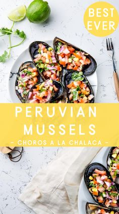 Choros a la Chalaca is a traditional Peruvian appetizer that's refreshing and quick to make for an elegant occasion or casual get together. Fish Recipes, Lunch Recipes, Seafood Recipes, Healthy Dinner Recipes, Chicken Recipes, Quick Weeknight Meals, Easy Meals, Slow Cooker Recipes, Crockpot Recipes