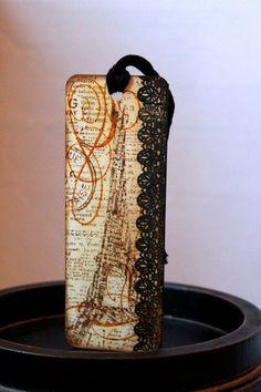 Paris Bookmark Eiffel Tower Black Lace by MrsKristenCreations, $4.00