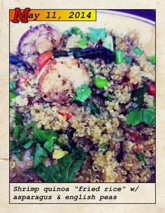 "Blue Apron shrimp quinoa ""fried rice"" asparagus English peas"