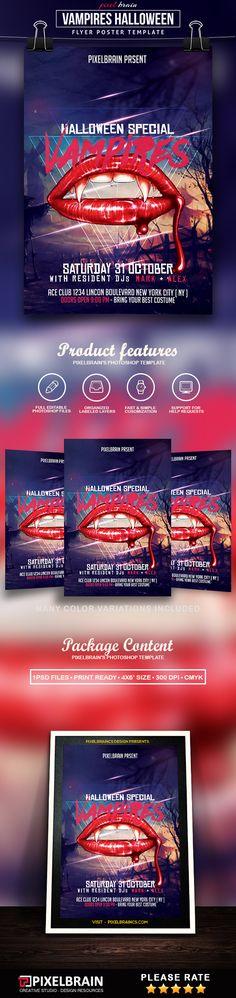 Vampires Halloween Flyer Template Download Vol - 8