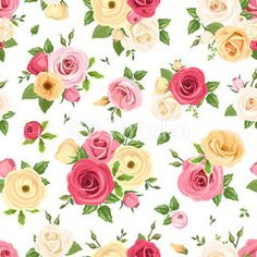 Seamless pattern with colorful roses and lisianthus flowers. Vector illustration.