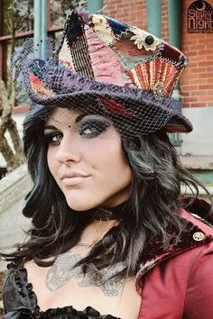 Derby style hat. Vintage crazy quilt piece, The pattern was from Lynn McMasters, for the riding derby and changed it a little bit.