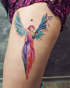 Angel - watercolor tattoo by Simona Blanar.   This is it!! Finally!!! After the one that saved me.  Maybe a little smaller though
