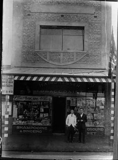 Darebin Heritage - Norman Outran outside his hairdressers shop c.1930s, Thornbury