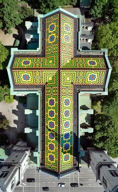 Mosaikdach, Ludwigskirche: München von oben