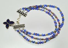 Sapphire  Amethyst  Beaded  Triple  Bracelet by bebsbeads on Etsy, $17.00