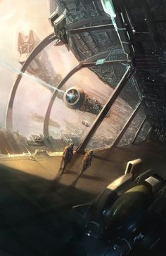 Really cool image from inside a ship, inspiration Concept ship art by Frank Hong Fantasy Landscape, Sci Fi Fantasy, Fantasy World, Concept Ships, Concept Art, Spaceship Concept, Cyberpunk 2077, Science Fiction Kunst, Sci Fi Environment
