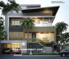 Desain Rumah Mewah Hook 3-4 Lantai, modern minimalis, peruntukan fungsi lantai atap sebagai paviliun tamu, konsep tataruang rumah dengan kaidah fengshui