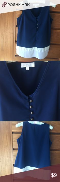 ✨FINAL PRICE ✨Oak and Olive Navy and Cream Top Olive and Oak sleeveless navy and cream w/ brass color buttons. 100% polyester EUC Olive & Oak Tops Blouses