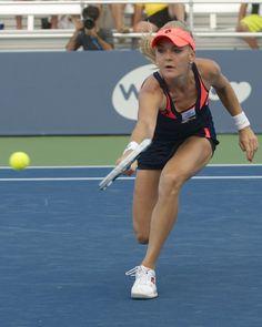 Agnieszka Radwanska reaches for a backhand in her match against Varvara Lepchenko.