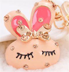 New Arrival Rhinestone Shy Rabbit Keychains Keyring Fashion Animal Metal Crystal Keychains Ring Holder Creative Gift(China (Mainland))