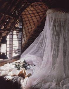 white netting around bed, window, tea! Perfect combination!