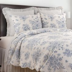 null This stylish bedding creates a timeless look. Reverse to a white ticking pattern for additional styling options. Crafted of cotton, this bedding set is machine washable for easy care. Toile Bedding, Aqua Bedding, Ruffle Bedding, Aztec Bedding, Coverlet Bedding, Classic Bedding Sets, Country Bedding Sets, Master Bedroom, Bedroom Decor