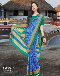 Buy #Grapevine #Green & #Blue #Crepe #Saree at Best Price for Rs.1,119/-