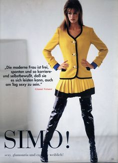 Susan Holmes in Versace thigh high boots,Vogue Germany, 1991Editorial: Bravissimo