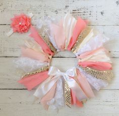 coral tutupeach tutu pink gold tutu cake smash by LittleBbows